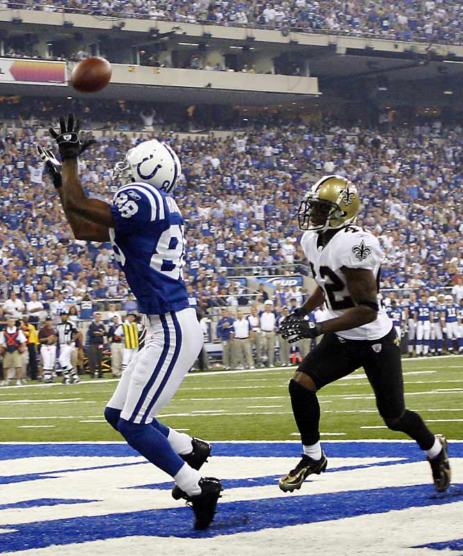 The first touchdown of the season was scored by Marvin Harrison, who hauled in a 27-yard pass from Peyton Manning.