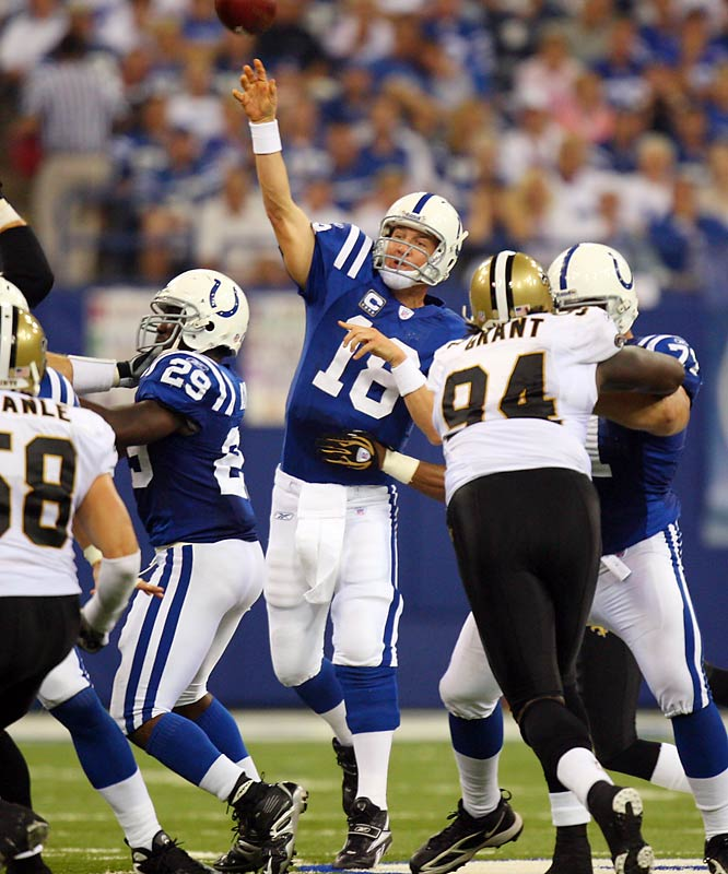 Playing against his hometown team, Payton Manning threw three touchdown passes, but the story of the day was a Colts defense that shut down Drew Brees, Reggie Bush and the explosive New Orleans offense.