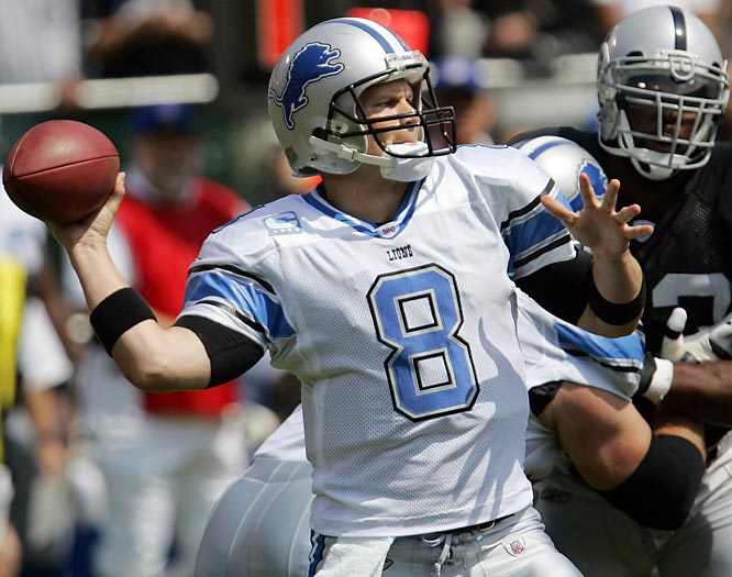 Jon Kitna finished 27-for-36 for 289 yards with three touchdowns and two interceptions. Five of his receivers had at least four receptions.