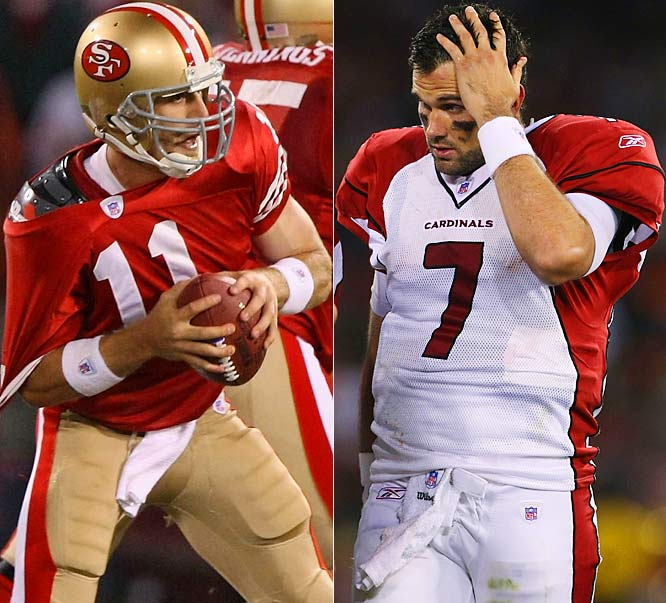 Both Alex Smith and Matt Leinart made turnovers that led to touchdowns in a defense-dominated first half. Smith finished 15-of-31 for 126 yards -- 60 on the final drive, while Leinart was 14-of-28 for 102 yards with two interceptions and a 5-yard touchdown pass to Anquan Boldin.