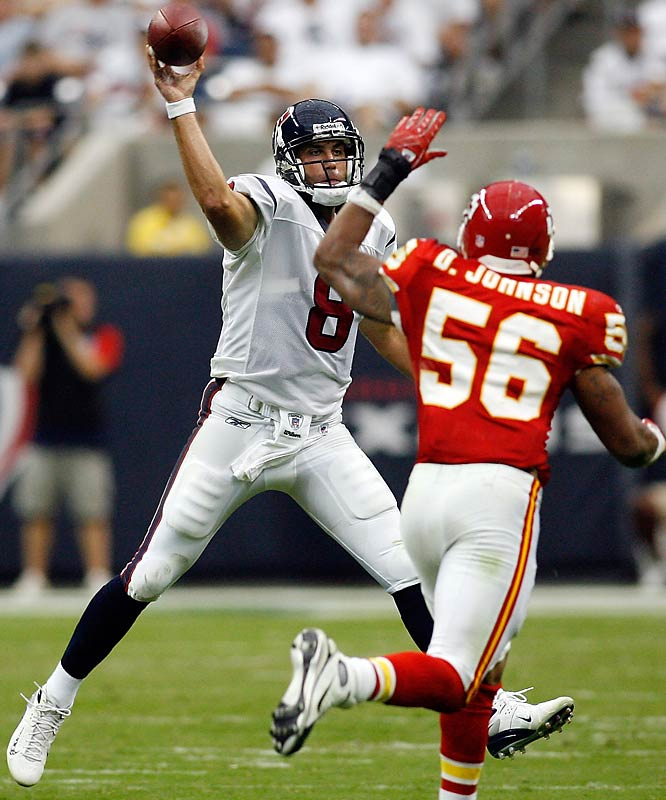 Matt Schaub found Andre Johnson up the middle for a 77-yard touchdown reception that was the longest of Johnson's career.