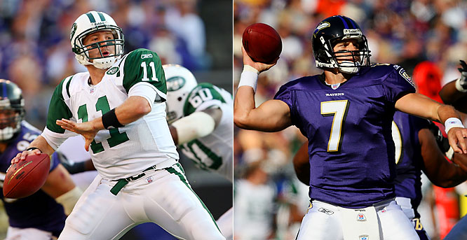 In a duel of backup quarterbacks, the experience of Baltimore's Kyle Boller prevailed over Kellen Clemens' exuberance. Boller threw for 185 yards and two touchdowns as the Ravens held off a late charge by the Jets.