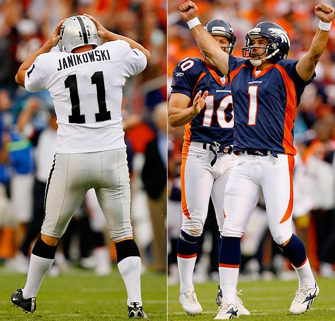 After nailing a 52-yard field goal that was negated because Denver had called a timeout before the snap, Sebastian Janikowski became even more distraught when his next kick hit the left upright and fell by the wayside. That opened the door for Jason Elam, who hit an easy 23-yarder for the win.
