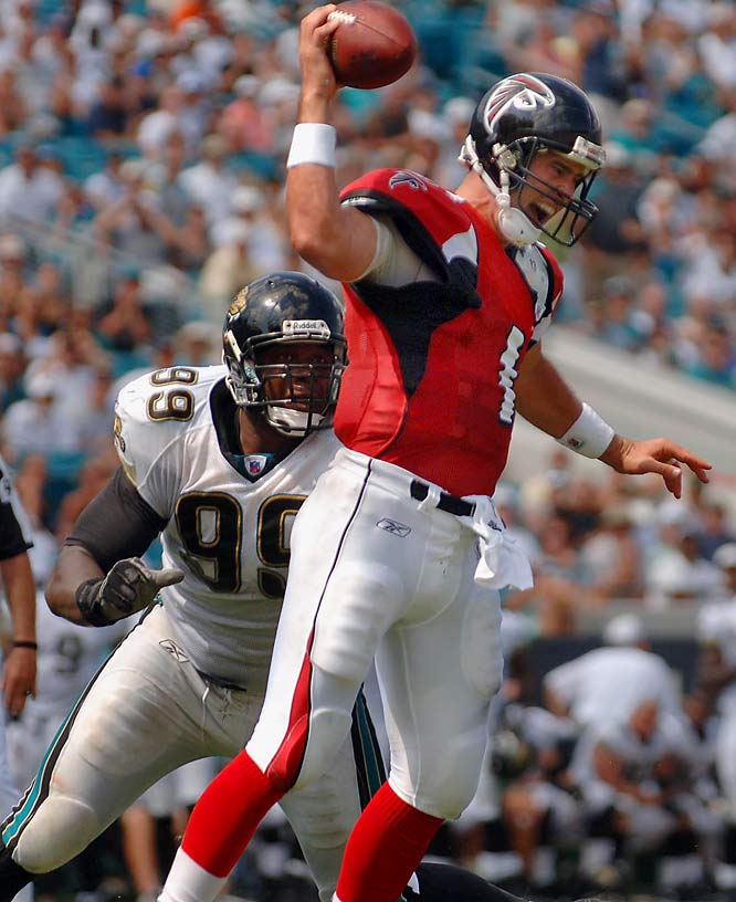 Marcus Stroud and the Jacksonville defense sacked Joey Harrington seven times as the Jaguars held the Falcons to just 82 yards on the ground and 132 yards in the air.