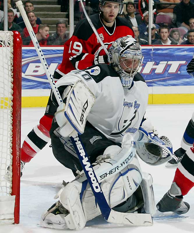 If the 2005 Cup champs are to regain their juice, the 29-year-old Swede must continue to establish himself as a bona fide number one. After four appearances sprinkled across three seasons with the Rangers, Holmqvist showed flashes of brilliance last season in 48 games with the Lightning, going 27-15 with a 2.85 GAA.
