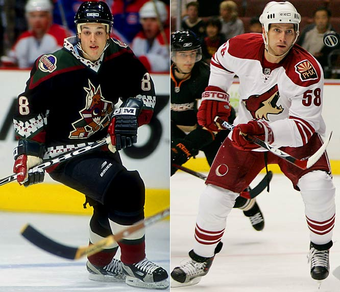 Like the first expansion era, the second had its share of fashion crimes, among them the Phoenix Coyotes, whose look is greatly simplified now.