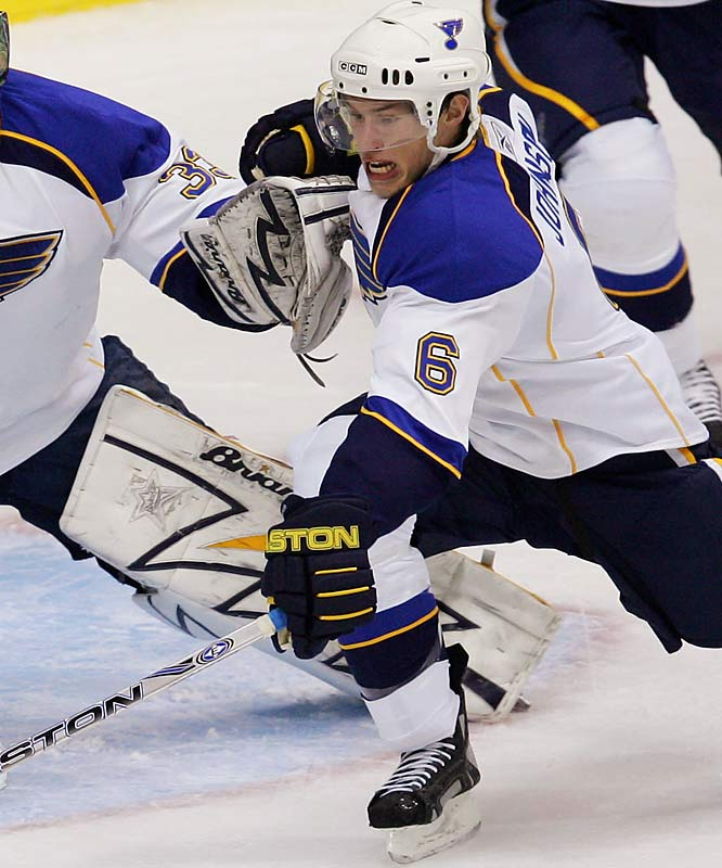 Drafted first overall in 2006, Johnson is the gem of the Blues' rebuilding effort. Big (6-4, 222 pounds), tough, mobile and offensively gifted, he may remind more than a few Blues fans of the long-departed Chris Pronger.