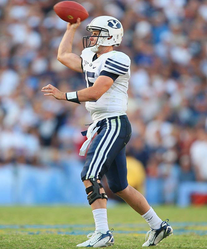 Hall redshirted at Arizona State in 2004 and went on a Mormon mission in 2005 before transferring to BYU in '06. In his first two starts as a Cougar, Hall has thrown for 679 yards and four touchdowns.