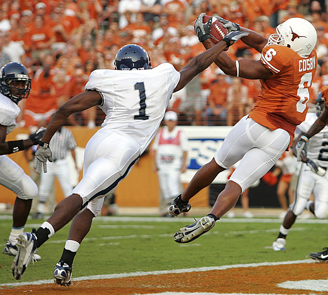 The Longhorns raced out to a 41-0 lead, kicked off by this 17-yard touchdown grab by Quan Cosby.