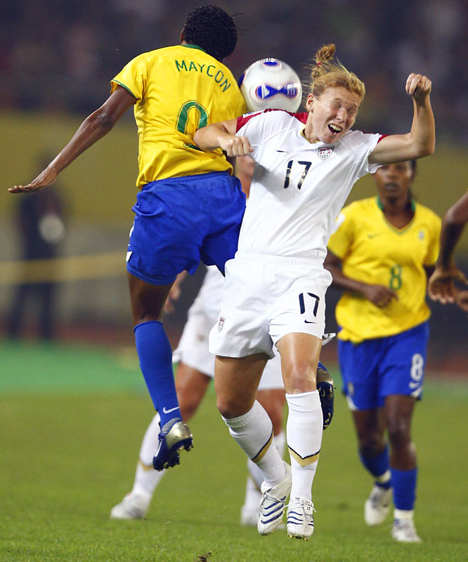 A common theme throughout Thursday's semifinal game: Brazilian midfielder Maycon beating U.S. midfielder Lori Chalupny to the ball.