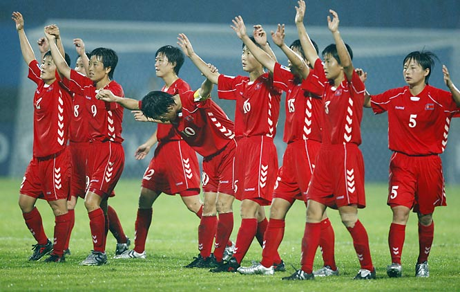 The North Koreans honor the crowd at Chengdu Sports Center Stadium  in Chengdu, China. There were 35,100 on hand to watch the 2-2 draw with the U.S.