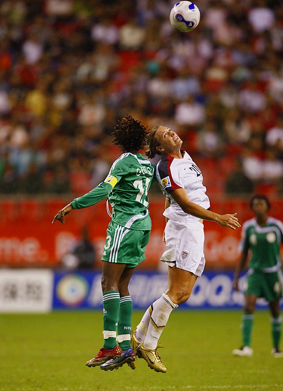 Abby Wambach missed on a couple of header opportunities but forced Nigerian defenders like Christie George to react to her size.