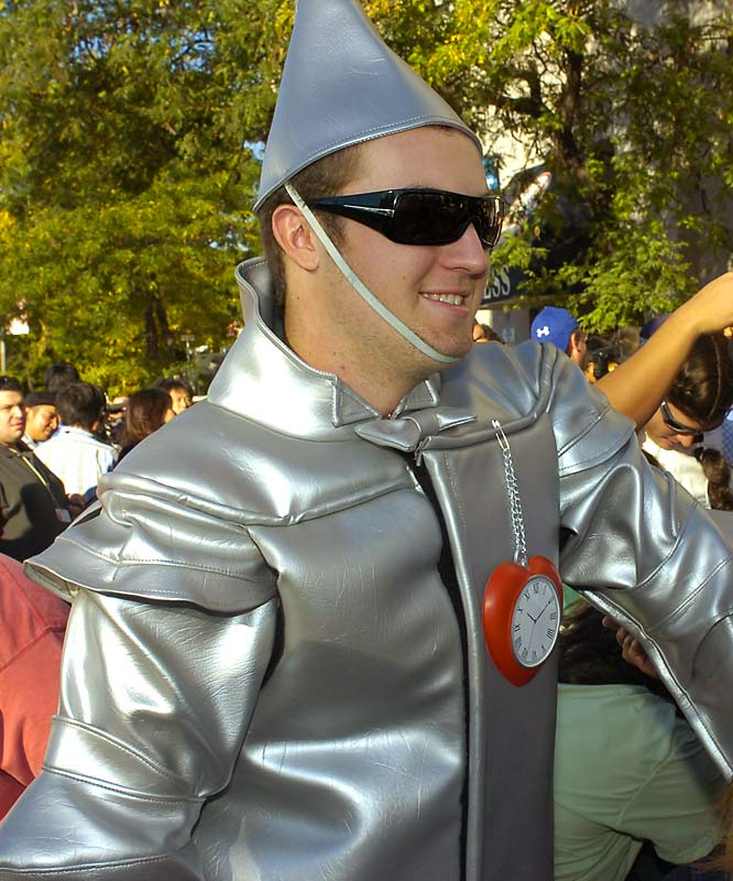 Hughes is dressed as the Tin Man.