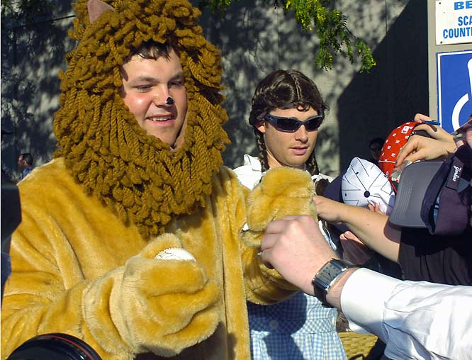 Chamberlain, left, is dressed as the Lion and Kennedy is Dorothy.