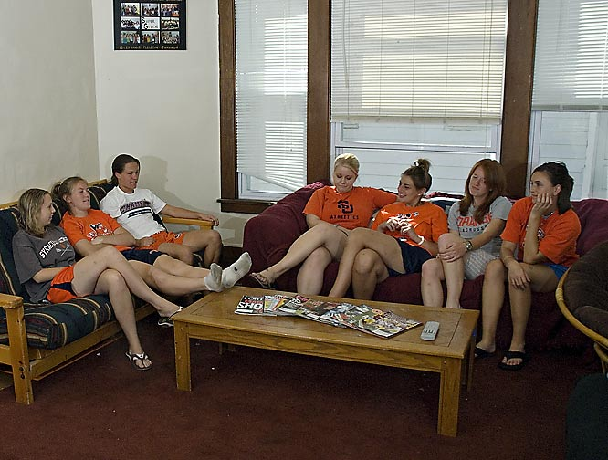 The seven housemates -- Benedict, Looney, Brady, Malm, Bissett, Brushe and Gibson -- frequently gather in the living room, the social center of the house. Here, the girls watch TV, play board games and entertain friends and the rest of the lacrosse team.