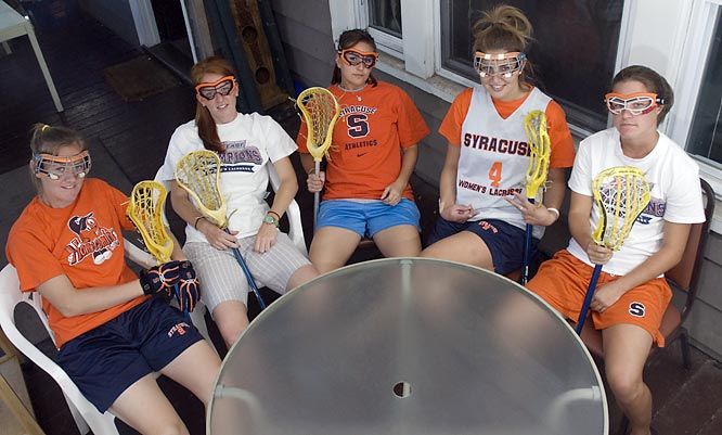 When not doing homework or eating meals out on the porch, Looney, Brushe, Gibson, Bissett and Brady like to grab their sticks, put on their goggles, sit around their table and make passers-by nervous.  Just kidding.