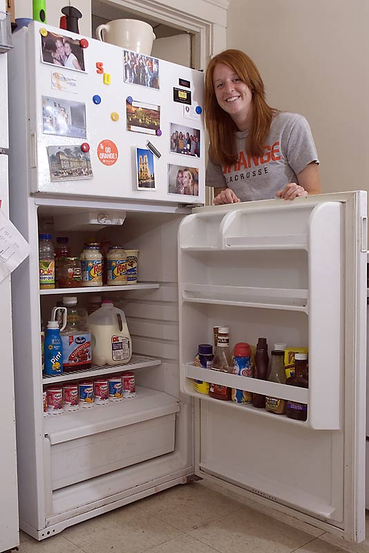The sign of a disciplined team? A well-organized fridge, in which even the yogurt labels face the front. Shaw dining hall is a convenient two blocks away, but the girls keep their fridge stocked with all the college staples -- milk, yogurt, pasta sauce, chicken and chocolate syrup -- just in case.