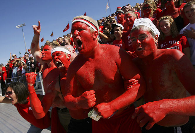 Ball State fans let out a cheer during the Cardinals' 49-14 win over Buffalo.