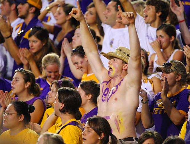 This LSU fan is excited about the Tigers' 28-24 victory over Florida.