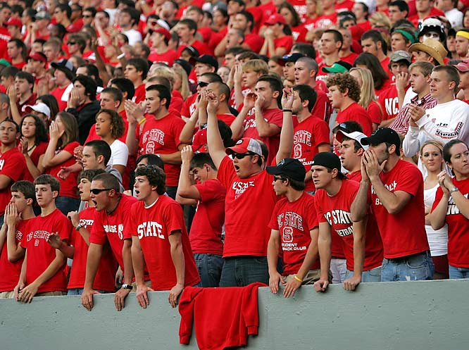 NC State fans wore their best reds for the Wolfpack's 29-24 upset over Virginia.