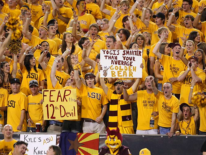 ASU fans enjoy a front row view of the action.