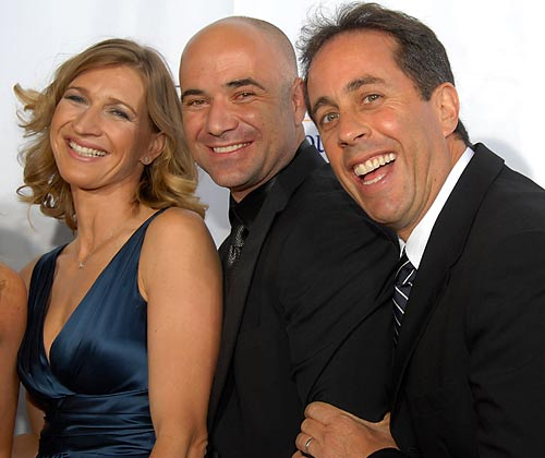 Retirement seems to agree with Steffi Graf, Andre Agassi and Jerry Seinfeld, who got together for Agassi's charity event in Las Vegas last weekend.