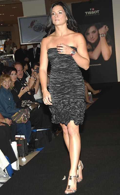 Danica Patrick traded in the race track for the runway on Wednesday. The Indy Car driver modeled in a fashion show at Macy's Herald Square  in New York City.