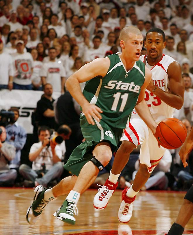 Drew Neitzel (pictured), Travis Walton, Kalin Lucas, Chris Allen, Durrell Summers, Isaiah Dahlman<br><br>Neitzel, the Spartans' veteran workhorse and Wooden Award candidate, finally has some backup in his backcourt. The additions of four-star freshmen Lucas, Allen and Summers should free up some of the defensive heat on Neitzel, who was relentlessly hounded by double-teams as a junior, yet still managed to score 18.1 points per game.