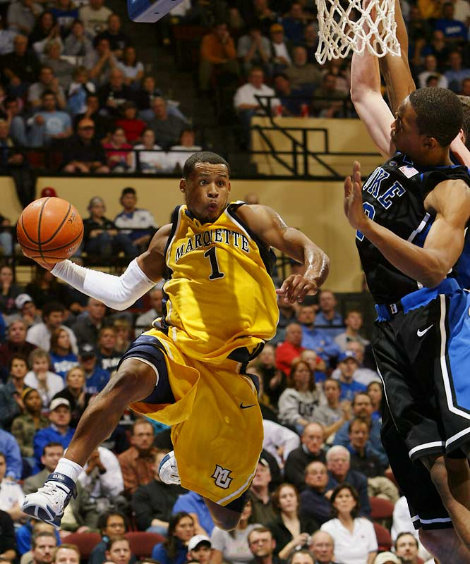 Dominic James (pictured), Jerel McNeal, Wes Matthews, David Cubillan, Maurice Acker <br><br>Coach Tom Crean may be compelled to play four-guard lineups, what with the addition of Acker -- a former MAC rookie of the year at Ball State -- to an already loaded backcourt. James was panned at the NBA Pre-Draft camp in June but is still a high-quality scoring point at the college level. And McNeal, whose late-season thumb injury doomed the Golden Eagles in the NCAA tournament, should once again be the Big East's best defender.