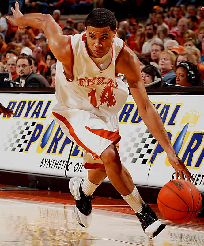 D.J. Augustin (pictured), A.J. Abrams, Justin Mason<br><br>The Longhorns have a talented, albeit undersized, one-two punch in Augustin and Abrams, who thrived as supporting actors in the Kevin Durant Show last season. Many of D.J.'s & A.J.'s open looks and driving lanes were available because of heavy defensive attention on Durant, though. Can they still be effective scorers now that they're the focal point of the offense?