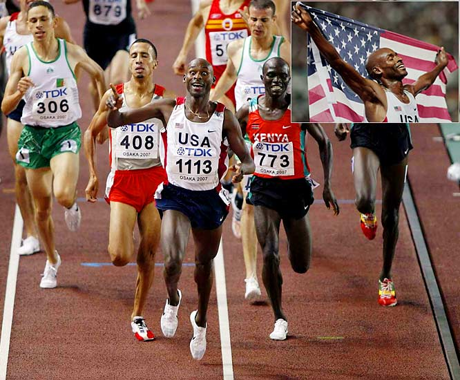 A naturalized U.S. citizen from Kenya, Lagat became the third man in history to win the 1,500/5,000 double at a major international championships, joining Paavo Nurmi (1924 Olympics) and Hicham El Guerrouj (2004 Olympics). Lagat pulled off his double at the World Championships in Japan.