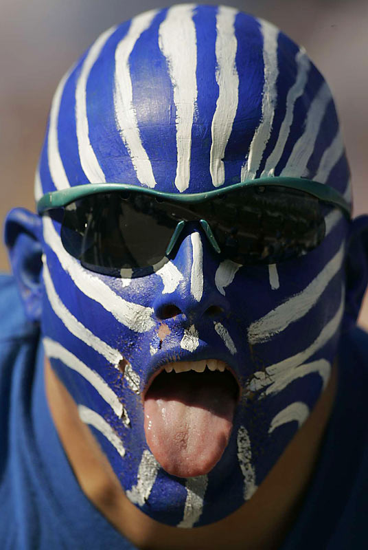 No, this isn't Ashley Judd but give this Kentucky fan props for a paint job worthy of the best of Halloween.