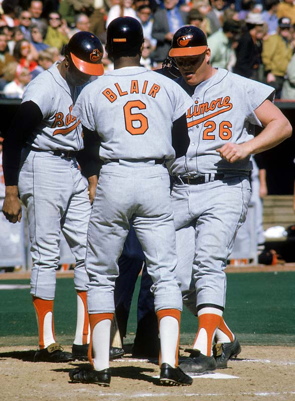 With sluggers Frank Robinson, left, and Boog Powell, right, and a trio of 20-game winners in  Mike Cuellar, Dave McNally and Jim Palmer, this powerhouse ballclub won 108 regular-season games and the World Series. On their way, they won their last 11 regular-season games and their first six postseason games before dropping Game 4 of the Series to the Reds. They would bounce back to wrap up the Series in five games.