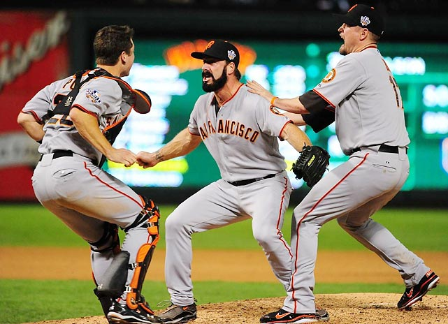 The Giants' Buster Posey, Brian Wilson and Aubrey Huff celebrated after Wilson struck out the Rangers' Nelson Cruz to end Game 5 in Texas. It was the Giants' first title since moving to San Francisco in 1958 and the first for the franchise since 1954.