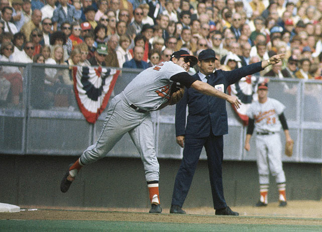 Baltimore's Brooks Robinson was already considered the best defensive third baseman in the game, but what he did in this series made many consider him the best defensive player ever. It started in Game 1, when Robinson stabbed a hard-hit groundball down the third base line with his back-hand, and threw out Cincinnati's Lee May. Robinson also hit the game-winning homer that day, but it was his defense, that included several subsequent gems, that is remembered most.