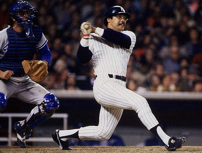 Reggie Jackson homered in three consecutive at-bats during Game 6 against the Dodgers in 1977 to clinch the Yankees' first World Series title since '62. Jackson finished the Series with a record-setting five home runs and joined Babe Ruth as the only players to hit three homers in one Series game.