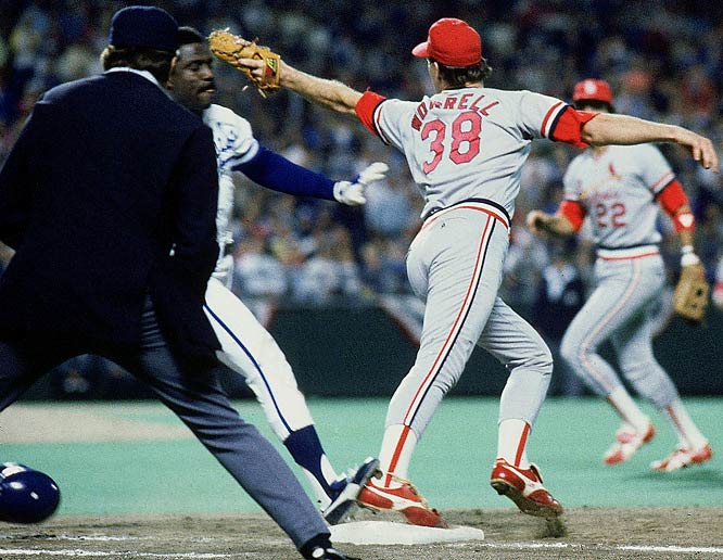 The Cardinals entered the bottom of the ninth inning of Game 6 three outs away from clinching beating the Royals in the I-70 Series. Kansas City's Jorge Orta hit a groundball to first and though St. Louis' Todd Worrell beat him to the bag, umpire Don Denkinger incorrectly ruled Orta safe. The Royals rallied for two runs to win that game and then routed the Cardinals 11-0 in Game 7 for their first World Series title.