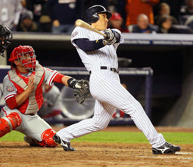 Hideki Matsui tied a single-game World Series record with six RBIs in Game 6 as the Yankees beat the Phillies 7-3 to clinch their 27th world championship. Matsui batted .615 overall in the Series with three home runs and was voted Series MVP.