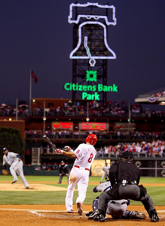 Shane Victorino picked a pretty good time to hit the first grand slam of his career (and the first in the Phillies' postseason history). With the bases loaded and two outs in the second inning, the Flyin' Hawaiian blasted a CC Sabathia hanging breaking ball into the left-field bleachers to give the Phillies a 5-1 lead they would not relinquish. Philadelphia went on to beat the Brewers in four games.