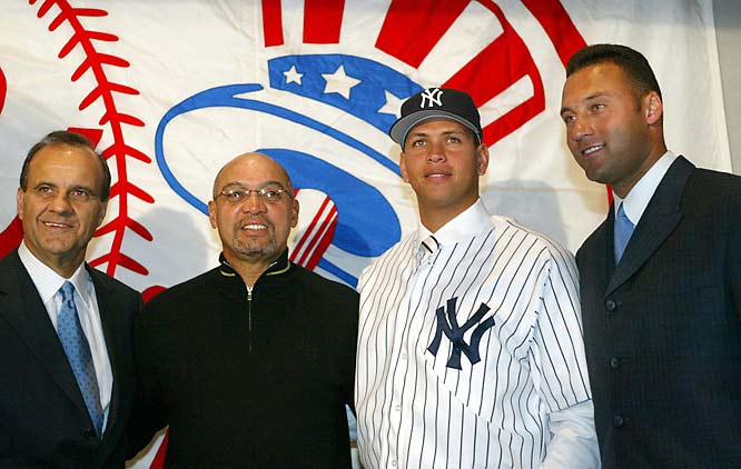 Torre, Reggie Jackson, Alex Rodriguez and Derek Jeter at the A-Rod trade announcement on Feb. 17, 2004.