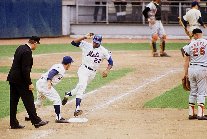 The Orioles led Game 5 of the World Series 3-0 when Mets manager Gil Hodges proved that a pitch thrown by Baltimore's Dave McNally had hit Cleon Jones in the foot. Hodges showed the umpire that there was shoe polish on the ball. Donn Clendenon, pictured left, followed with a crucial two-run home run in the Mets' 5-3 victory that clinched the Series.
