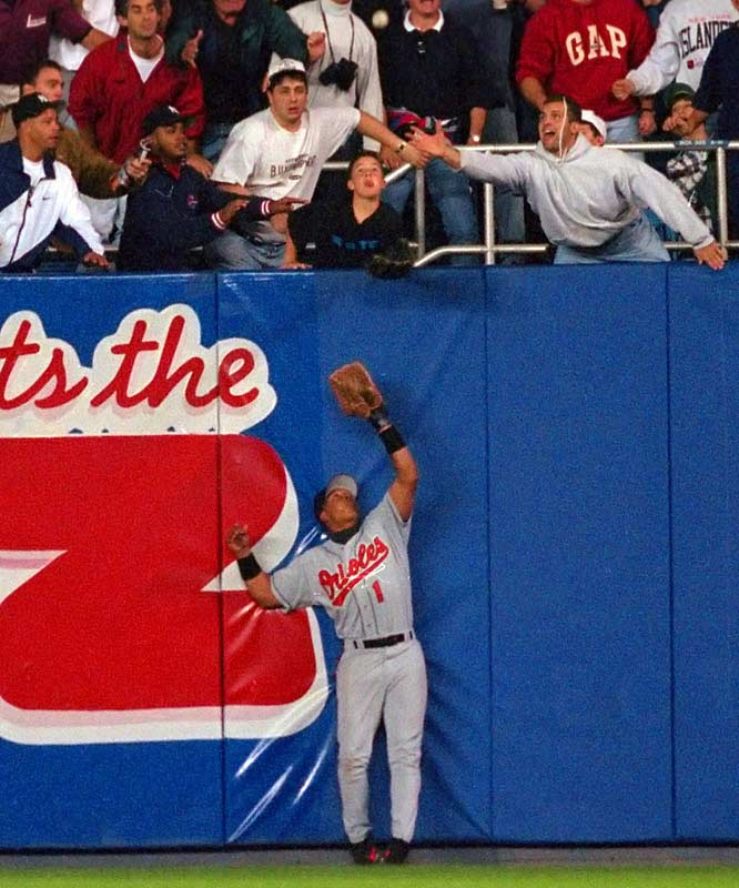 In Game 1 of the 1996 ALCS, 12-year-old Jeffrey Maier created a game-tying homer by Derek Jeter in the eighth inning when he reached out of the stands and grabbed a ball that was about to be caught by Baltimore's Tony Tarasco. Bernie Williams homered in the 11th to give New York a 5-4 victory.
