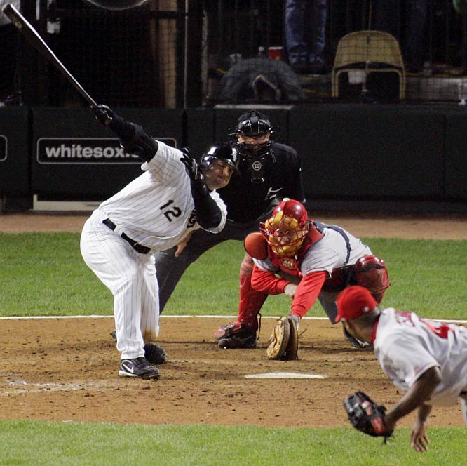 Tied 1-1 in the ninth inning of Game 2 of the ALCS, the Angels and White Sox appeared headed to extra innings. But A.J. Pierzynski hustled to first base safely after swinging at strike three. He got a favorable ruling from home plate umpire Doug Eddings, who said that the ball had bounced off the dirt. One batter later, Joe Crede won the game for Chicago with a double.