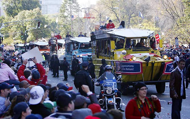 Thousands of fans turned out Tuesday to celebrate the Red Sox's second World Series championship in four years. The three-mile-long rolling rally extended from Fenway Park to City Hall Plaza.