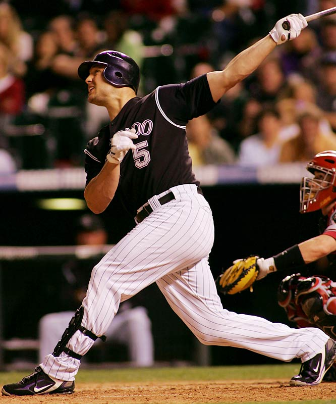 With a stat line that some can only dream of (216 hits, .340 BA, 36 HRs, 137 RBIs, 50 doubles), Holliday is a major reason why the Rockies made the playoffs after a late-season sprint to the wild card.