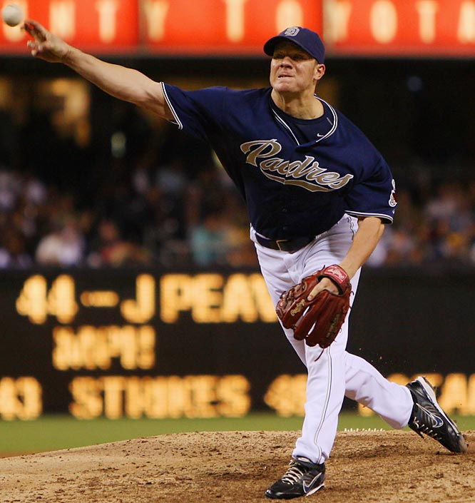 As the likely winner of the Cy Young award, Peavy led the league in strikeouts (240) and ERA (2.54).  Peavy also led the NL in wins with a 19-6 record.