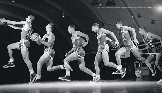 The patented behind-the-back dribble of Celtics ball-handling magician Bob Cousy, shown here in 1956, dazzled fans and baffled defenders.