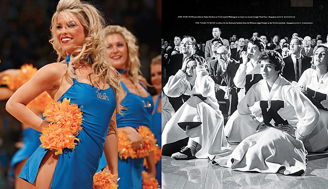 (Left) Pom-poms prevailed at Pauley Pavilion as UCLA mauled Washington en route to a second straight Final Four in 2006. (Right) Tears turned to cheers for the Kentucky faithful when the Wildcats edged Temple in the 1958 NCAA semifinals.