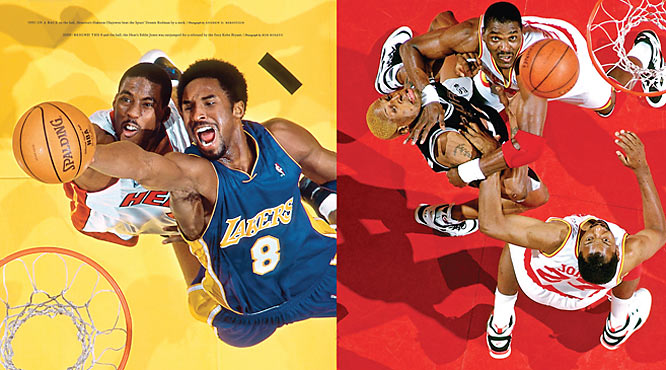 (Left) The fiery Kobe Bryant outjumps Eddie Jones for a rebound in 2000. (Right) In a race to the ball, Houston's Hakeem Olajuwon beat the Spurs' Dennis Rodman by a neck in 1995.