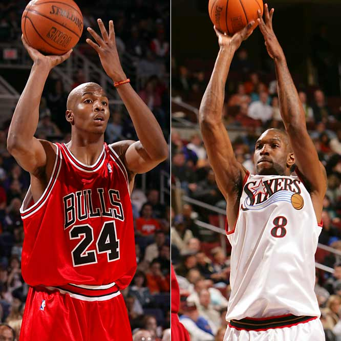 It's youth vs. experience for the Bulls as they try to replace the aging P.J. Brown. Smith, a 12-year veteran, brings defensive moxie, rebounding and a little bit of a low-post game, while the 21-year-old Thomas provides freakish athleticism and game-changing energy.